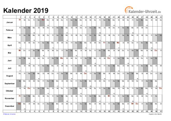 Jahreskalender in Spalten, grau